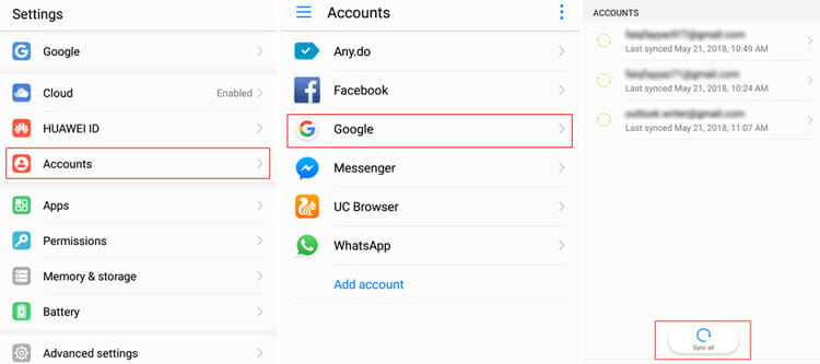 Back up contacts to gmail