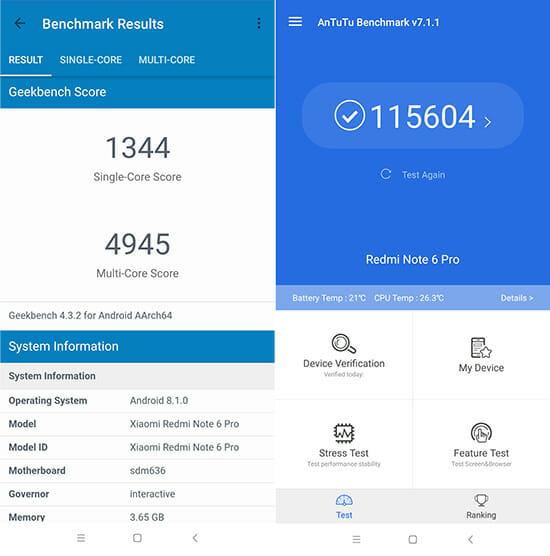 Redmi Note 6 Pro Benchark Scores