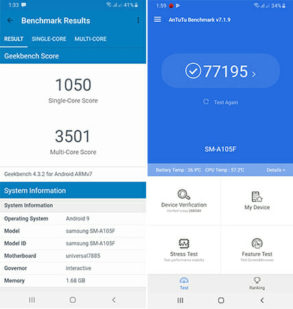 Samsung Galaxy A10 Benchmark Results