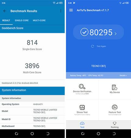 tecno Camon i4 Benchmark Apps