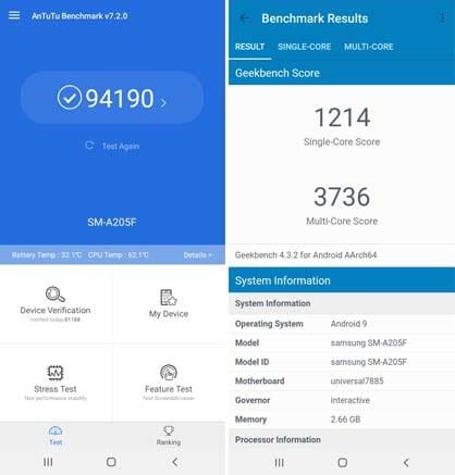 Samsung Galaxy A20 benchmarks