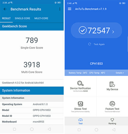 oppo A3s benchmark scores