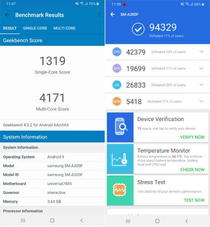 Galaxy A30 benchmarks