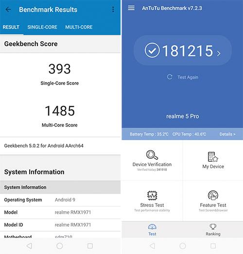 Realme 5 Pro Benchmark Score